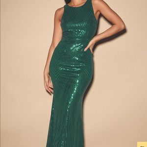 Lulus Giana forest green sequin gown